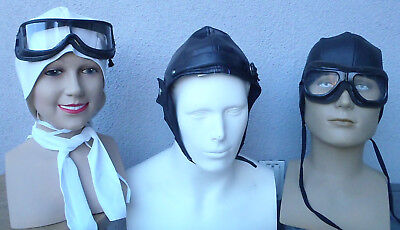 Aviator Helmet Goggles Kit Amelia Earhart Red Baron Wright Report Costume - Aviator Goggles Costume