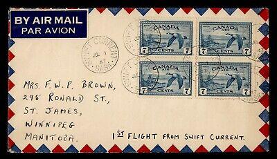 DR WHO 1947 CANADA SWIFT CURRENT SASK FIRST FLIGHT TO WINNIPEG MAN  g23027