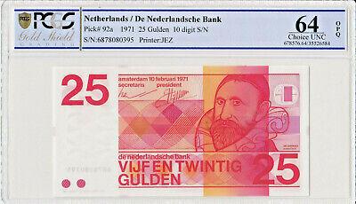 Netherlands 25 Gulden 1971 P92a PCGS 64 OPQ   UNC