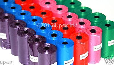 1200 Color DOG PET WASTE POOP BAGS Refill Rolls With Core Pick Up Your Color