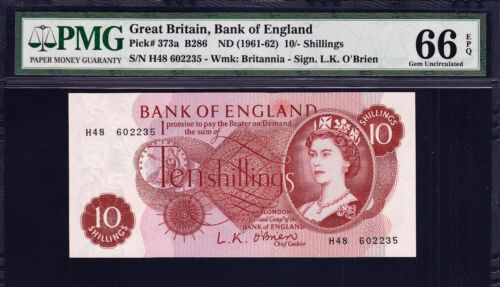 England, Great Britain 10/- Shillings ND (1961-62) Pick-373a GEM UNC PMG 66 EPQ