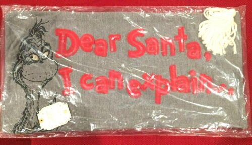 NWT Pottery Barn Teen THE GRINCH Christmas Pillow Cover DEAR SANTA I CAN EXPLAIN