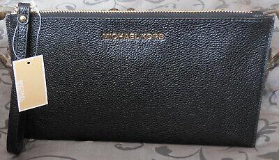 MICHAEL KORS ~Jet Set LEATHER Large Zip Clutch Wallet Wristlet~BLACK~NWT $98