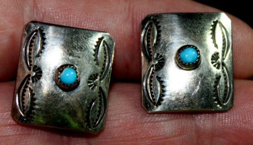 Old Pawn Navajo Handmade Solid Sterling Silver & Turquoise Stones Cufflinks