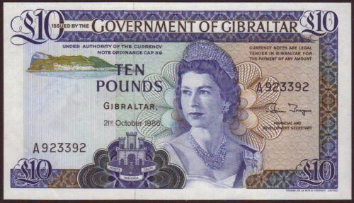 GIBRALTAR  10 Pounds  21.10.1986   UNC