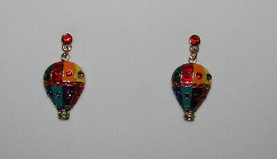 Hot Air Balloon Earrings Pierced Crystal Accents Gold Tone New Red Blue Purple  Crystal Hot Air Balloon