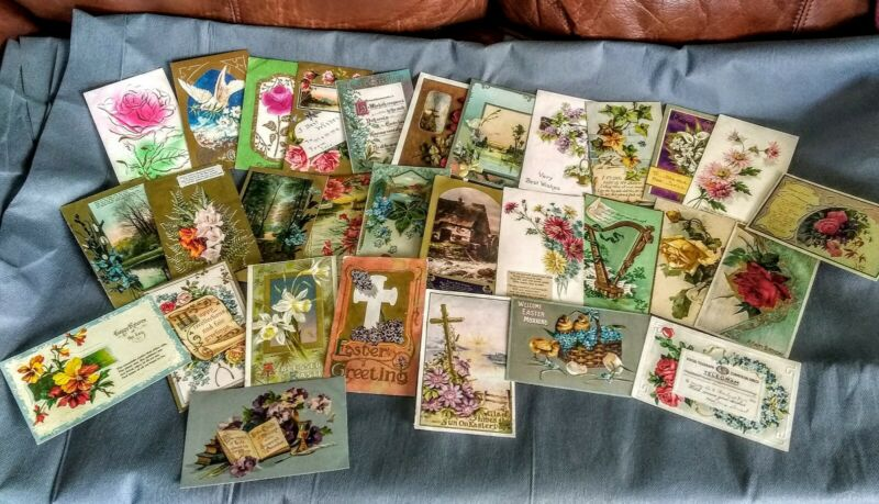 Vintage Victorian Embossed Embellished Christmas Easter Holiday Postcard Lot
