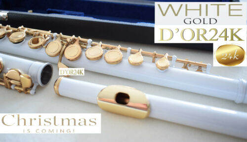 YAMA. Flute GOLD 24 Ct  WHITE closed holes Gold-Lip flute 24 ct Gold Flauta oro