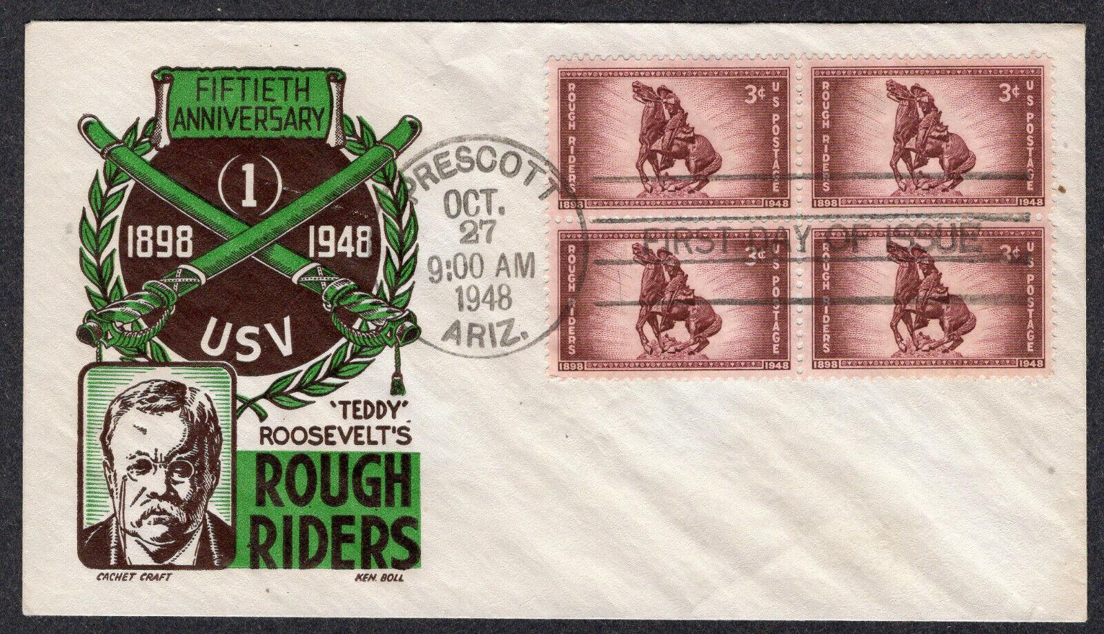 1948 Rough Riders 50th Scott 973 Blk/4 - Boll 2-Color Cachet Craft FDC QF867 - $2.25