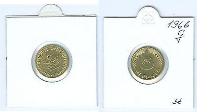 BRD  5 Pfennig 1966 G  stempelglanz