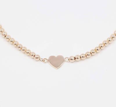 (14K Solid Gold Beaded Bracelet with Heart Charm | Layering Bracelet)