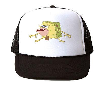 Spongebob Caveman Trucker Hat Mesh Cap Snapback Adjustable New-Black/White - Spongebob Hat