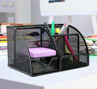 Black Mesh Desk Organizer - Greenco Mesh Office Supplies Desk Organizer Caddy, 6 Compartments, Black