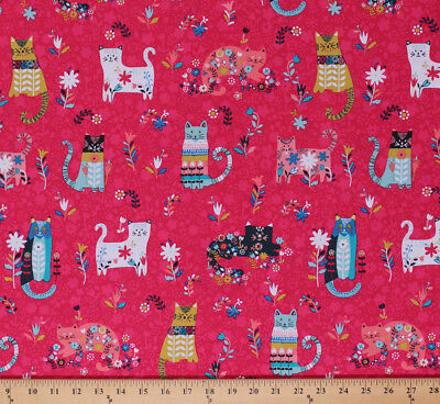 Cotton Cats Kitty Flowers Floral Animals on Pink Cotton Fabric Print BTY D484.07