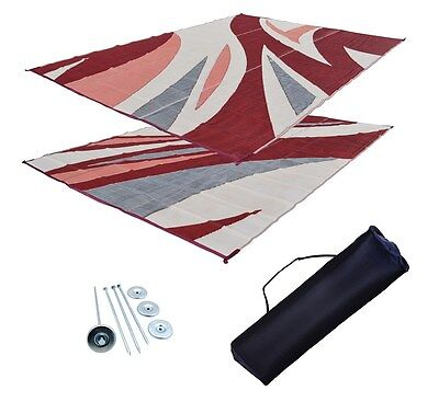 RV Patio Mat Motorhome Awning Mat Outdoor Burgundy Wave Reversible 9x18 w/ Bag