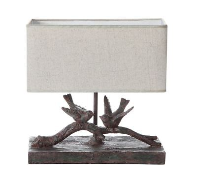 CHARMING VINTAGE STYLE RESIN BIRD BRANCH TABLE LAMP