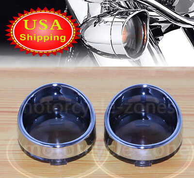 2x Smoked Turn Signal Lens Chrome Trim Ring Bezels Visor Cover For Harley Parts