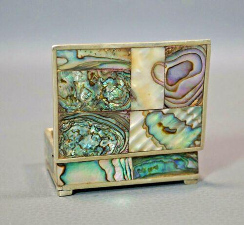 "1970s Vintage Abalone MOP Shell Mexico Alpaca Jewelry Pill box Box Miniature 2"""