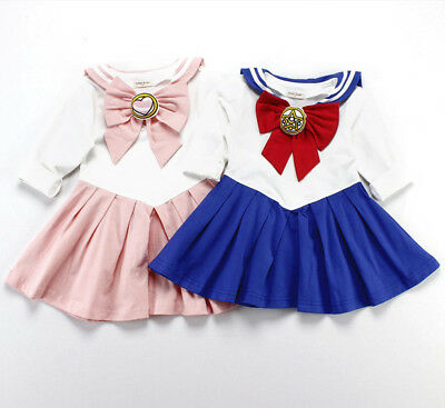 Toddler Girl Japanese Sailor Moon Usagi Uniform Dress Cosplay Halloween Outfit