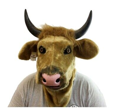Dlx Moving Mouth Brown Cow Mask Bull Animal Adult Sized Halloween Costume Head](Cow Head Costume)