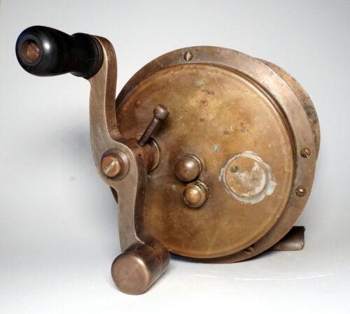 """Huge Old - BIG GAME FISHING REEL - Unusual Drag - 6"""" Diameter 12/0 Maker Unknown"""