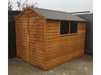 8x6 shed/overlap/apex/double door/ windows/Free base,treatment,lock & hasp