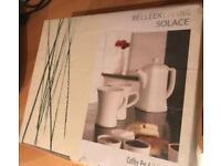 New, unused, unopened coffee pot and mugs