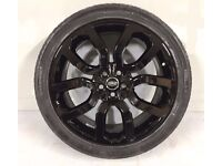 """Genuine New Range Rover L405/L494 22"""" Gloss Black Alloy Wheels and Continental Tyres -Set of 4"""