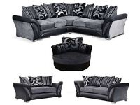 BRAND NEW DFS SHANNON CORNER/3+2 SOFA CUDDLE CHAIR FREE CUSHIONS/POUFFE + CHROME FEET