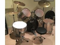 Pearl Export Chrome 5-piece drum kit + stands, cymbals and stool