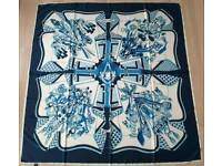 Exclusive silk scarf blue white PARIS ESPRIT AINOU
