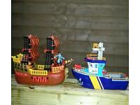 Imaginex toy boats. Plus pirate figure.