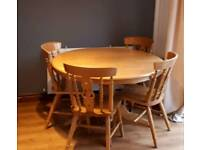 Large Solid Wood Extendable Round Dining Table
