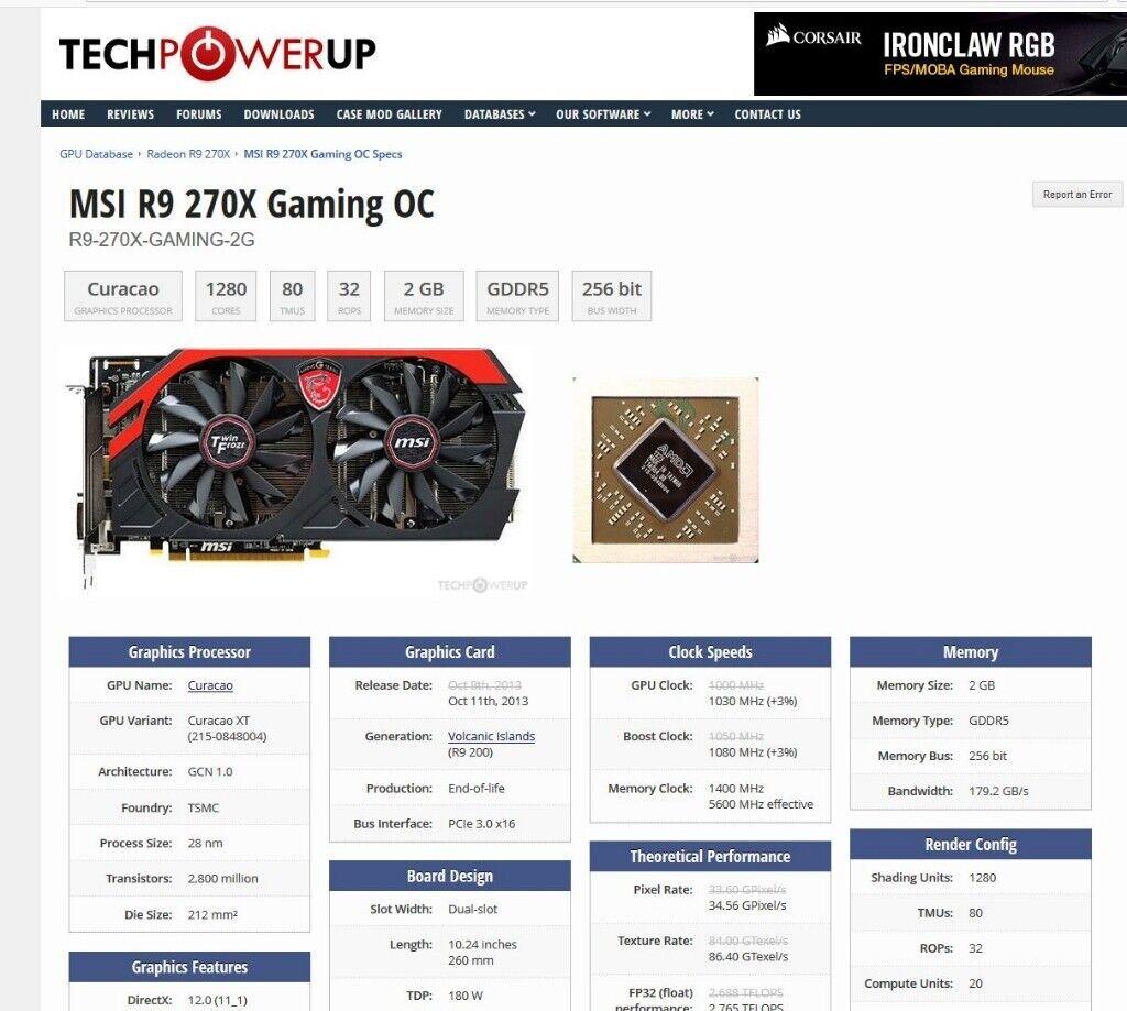 Gaming PC with MSI R9 270X 2048MB, 3 1GHz processor, SSD, Windows 10   in  Brislington, Bristol   Gumtree