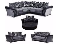 **NEXT DAY DELIVERY**FREE CUSHIONS/POUFFE/CHROME FEET NEW DFS SHANNON CORNER/3+2 SOFA CUDDLE CHAIR