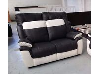 ScS LEO BLACK & WHITE LEATHER 2 SEATER SOFAS **Can Deliver**