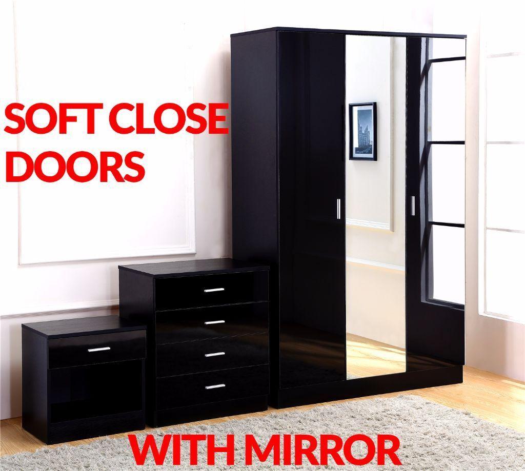 Gladini XL Mirrored Black High Gloss 3 DOOR 3 Piece Bedroom ...