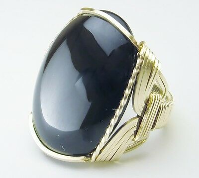 Bold Black Onyx Artisan Ring 14k Rolled Gold Mens or Ladies