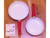 Tower Red handle and coloured 2 Piece, 1 – 20cm and 1 – 24cm, Non-Stick Ceramic Coated Frying Pans