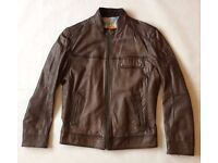 Hugo Boss Men's Brown Leather Jacket, Chest 40