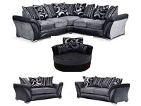 NEXT DAY DELIVERY FREE CUSHIONS/POUFFE/CHROME FEET NEW DFS SHANNON CORNER SOFA/ 3+2 CUDDLE CHAIR