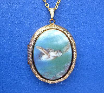 Porcelain LOGGERHEAD SEA TURTLE CAMEO Costume Jewelry GT Locket Pendant Necklace