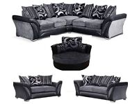 FREE CUSHIONS/POUFFE + CHROME FEET BRAND NEW DFS SHANNON CORNER/3+2 SOFA CUDDLE CHAIR