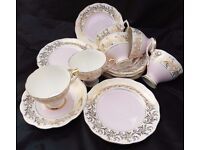 Vintage Royal Standard 6 Cups, saucers amd side plates With gold pattern and pale pink shading