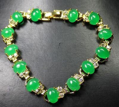 Yellow Gold Plated Ice Green Jade Cabochon Imitation Diamond Bangle Bracelet