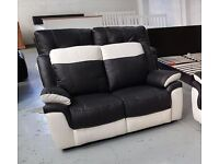 ScS LEO BLACK & WHITE LEATHER 2 SEATER SOFAS RRP £995 **Can Deliver**