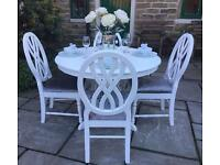 Vintage Shabby Chic Round Dining Table & 4 Chairs