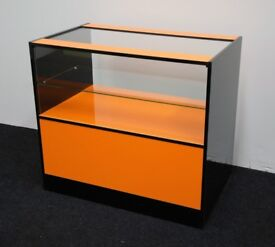 Shop Counter with Glass Orange and Black Gloss Finish 1000mm/Ref:0330