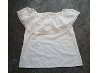 Ladies Gypsy style broderie anglaise white blouse