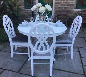 Large White Round Dining Table & 4 Grey Upholstered Chairs